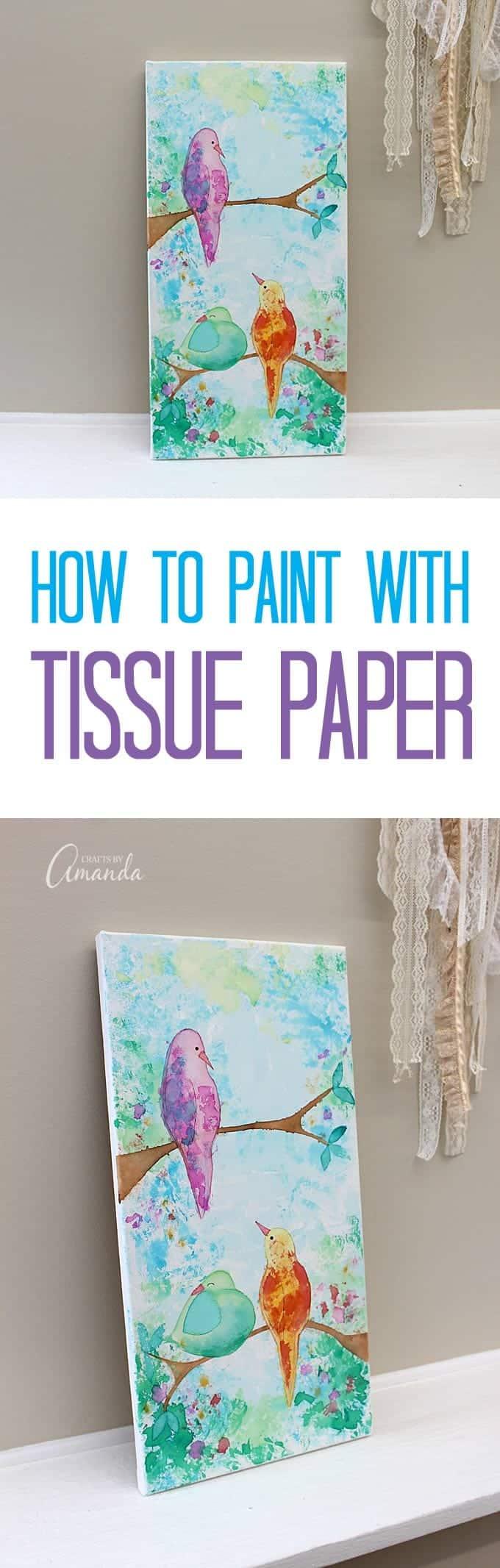 Bleeding Tissue Paper Birds On Canvas Wall Art
