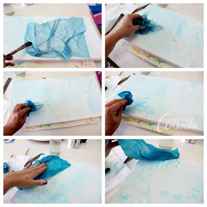 Adding bleeding tissue paper to canvas