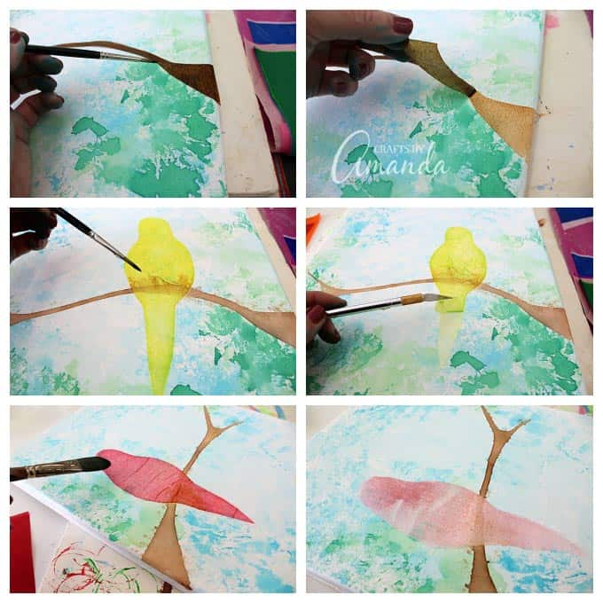 how to make bleeding tissue paper birds