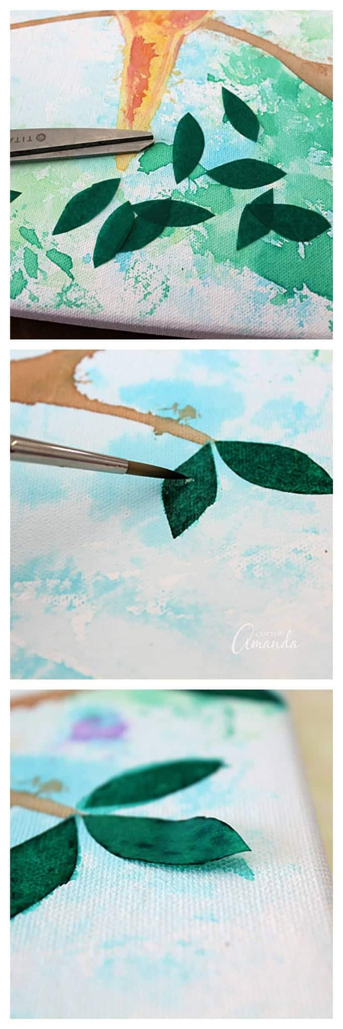 adding tissue paper to canvas to create leaves