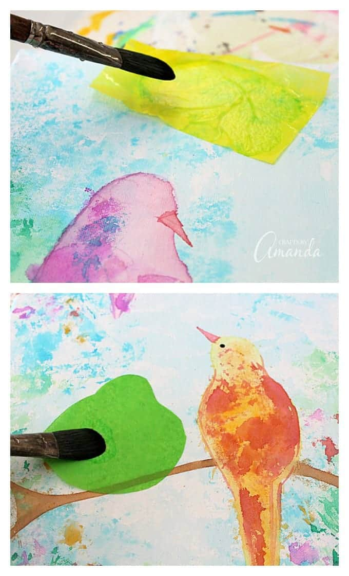 Bleeding Tissue Paper Birds on Canvas - that's right, no paint was used to make this piece of wall art! Use bleeding tissue paper and water to create beautiful designs, like this birds on a branch canvas wall art.