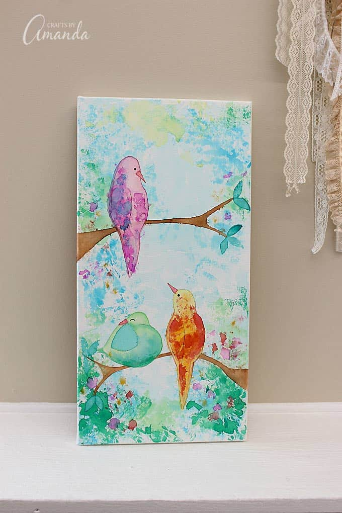 Bleeding Tissue Paper Birds Canvas