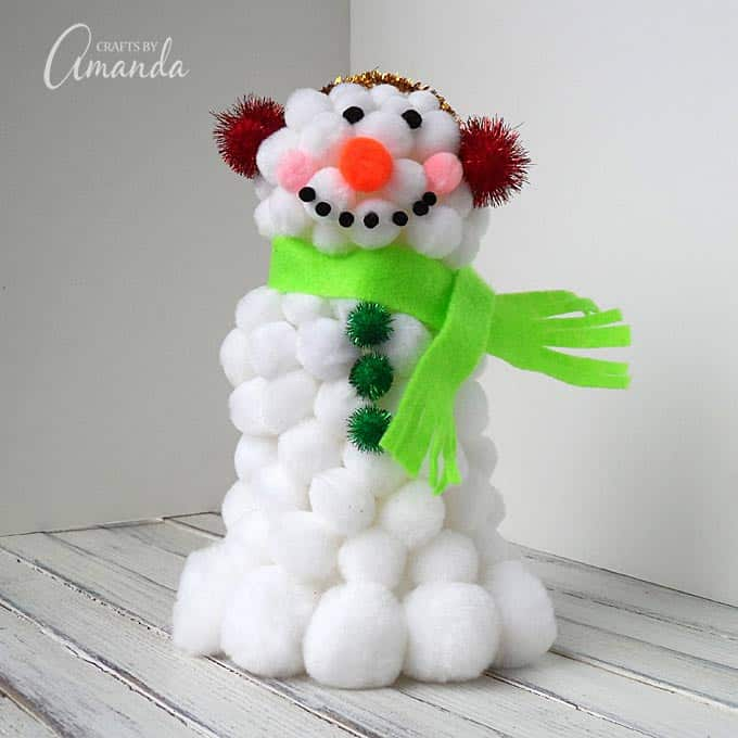 Pom pom snowman craft for How to make winter crafts