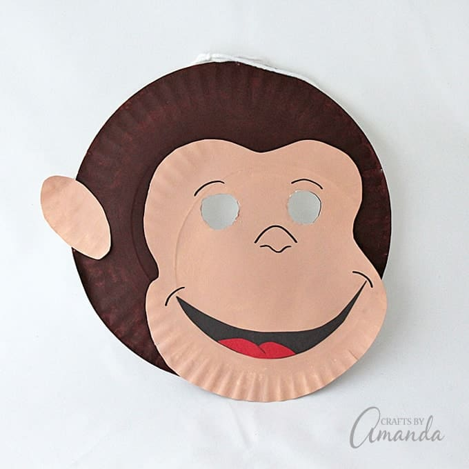 Curious George Paper Plate Mask & Curious George Paper Plate Mask - Crafts by Amanda