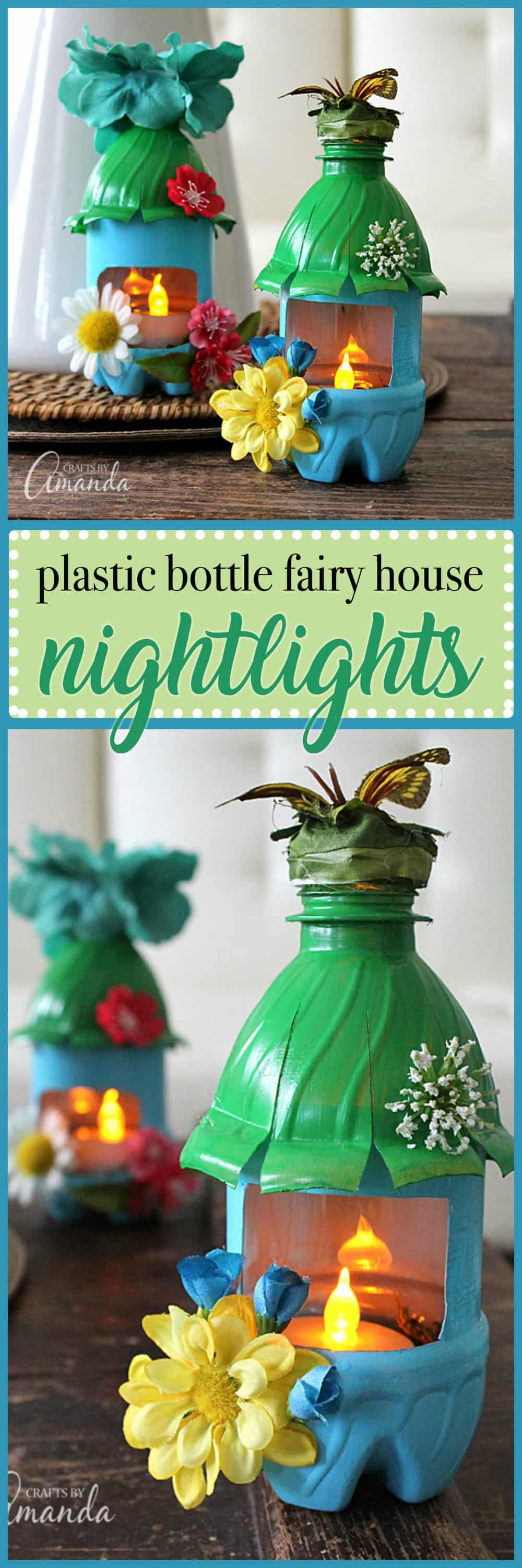 fairy house night lights from plastic bottles recycle craft turn empty plastic water bottles into adorable little fairy house night lights fun for a