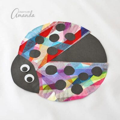 Adorable paper plate ladybug uses tissue paper to make it so colorful!