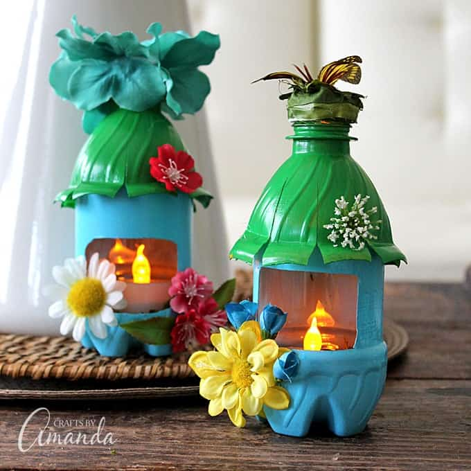 Fairy house night lights made from plastic water bottles