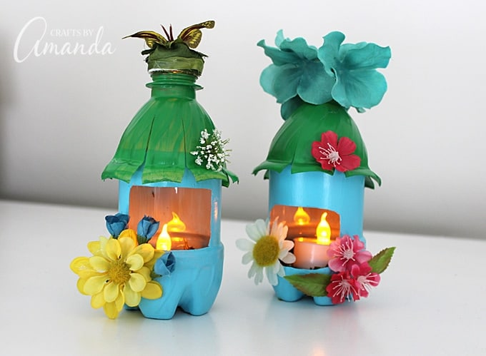 Water bottles turned into fairy house nightlights
