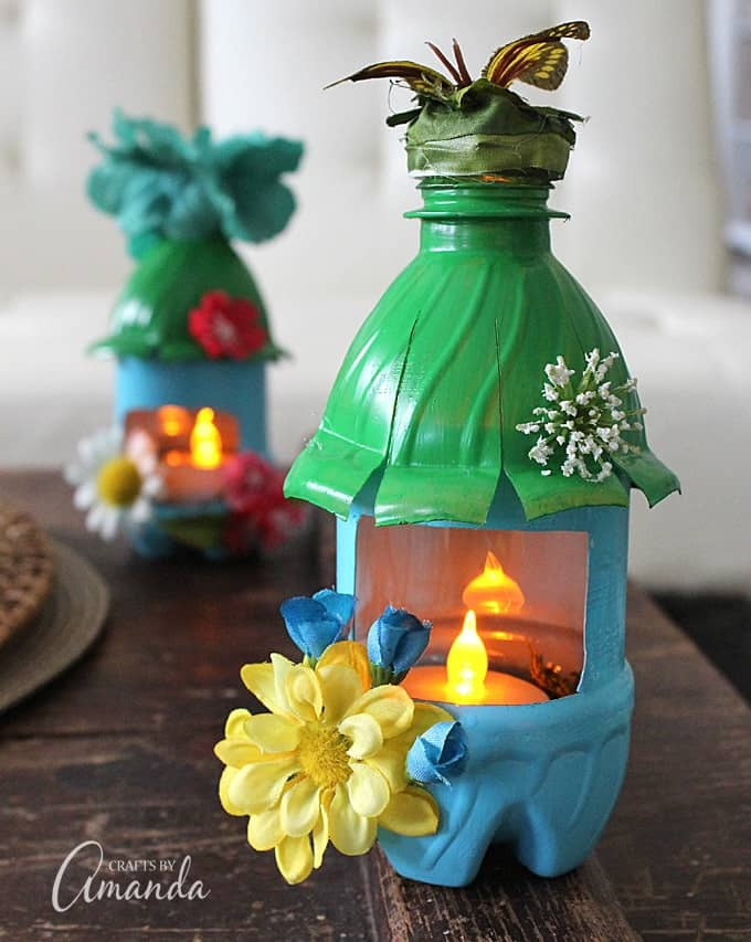 Fairy house nightlights made from plastic water bottles