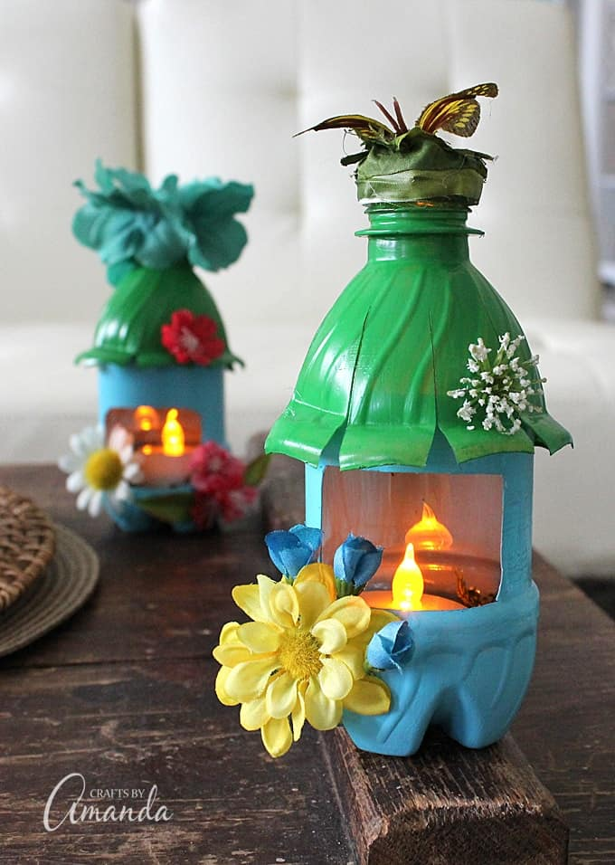 Fairy house night lights from plastic bottles recycle craft for Waste material craft work with bottles