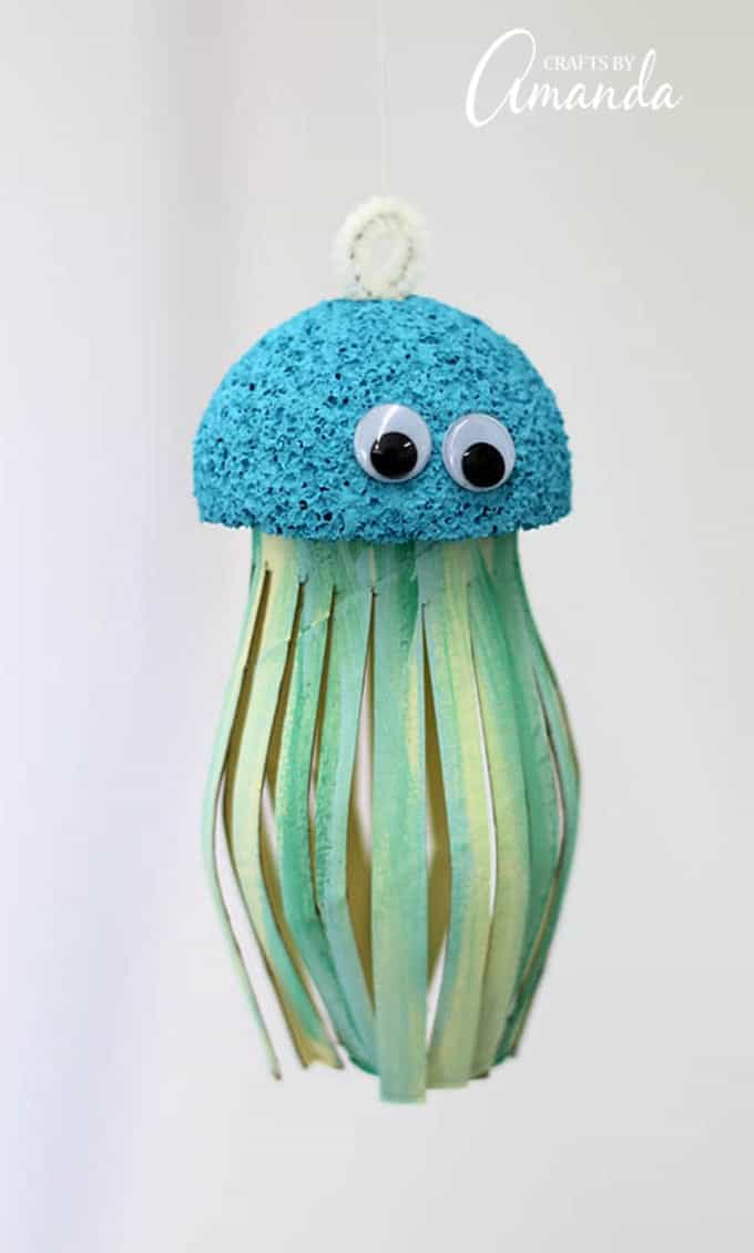 Cardboard tube jellyfish hanging