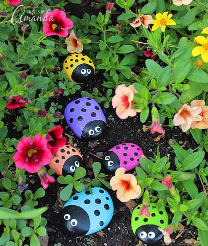 ladybug painted rocks vertical