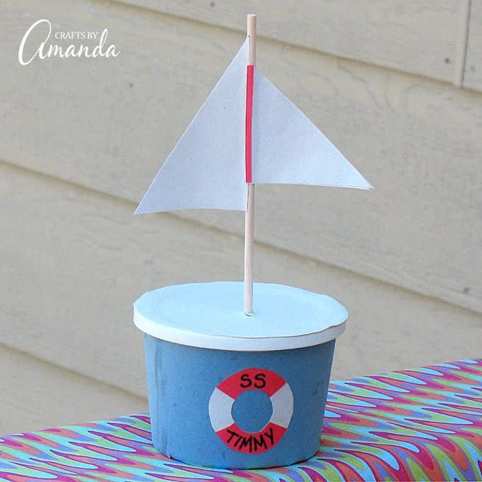 You and the kids can turn an empty margarine container into a fun boat craft. This margarine tub boat is a great way to teach kids about recycling!
