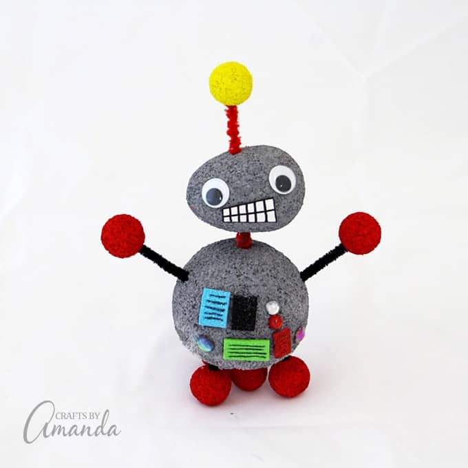 Make this adorable Styrofoam robot craft, perfect for a summer camp project or a kid's craft for a space themed birthday. Kids will love this robot craft!