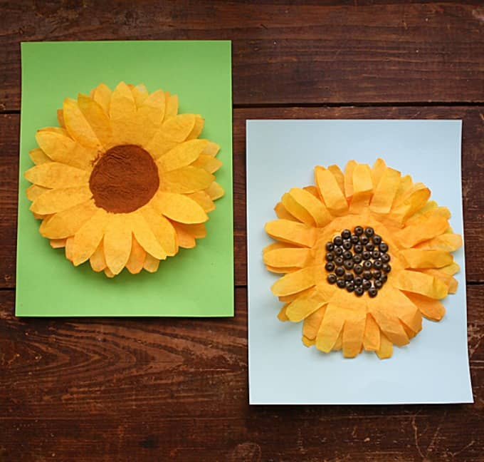 Coffee filter sunflowers a fun sunflower craft for kids coffee filter sunflowers mightylinksfo