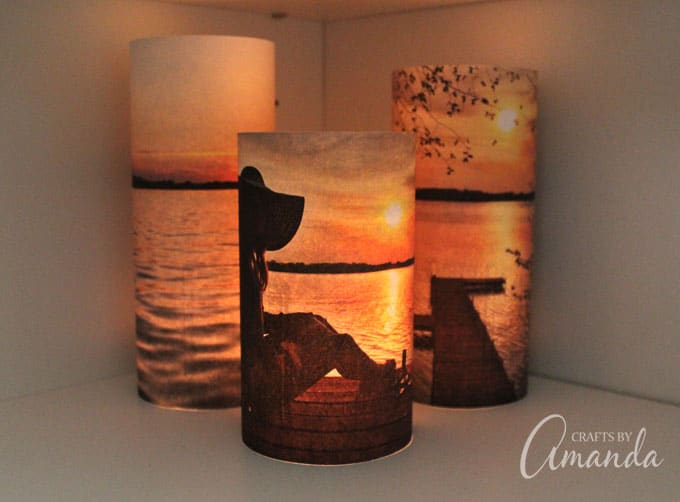 Even the non-crafty person can make these stunning photo luminaries. They are positively lovely and can be changed with the season, and highly personal!