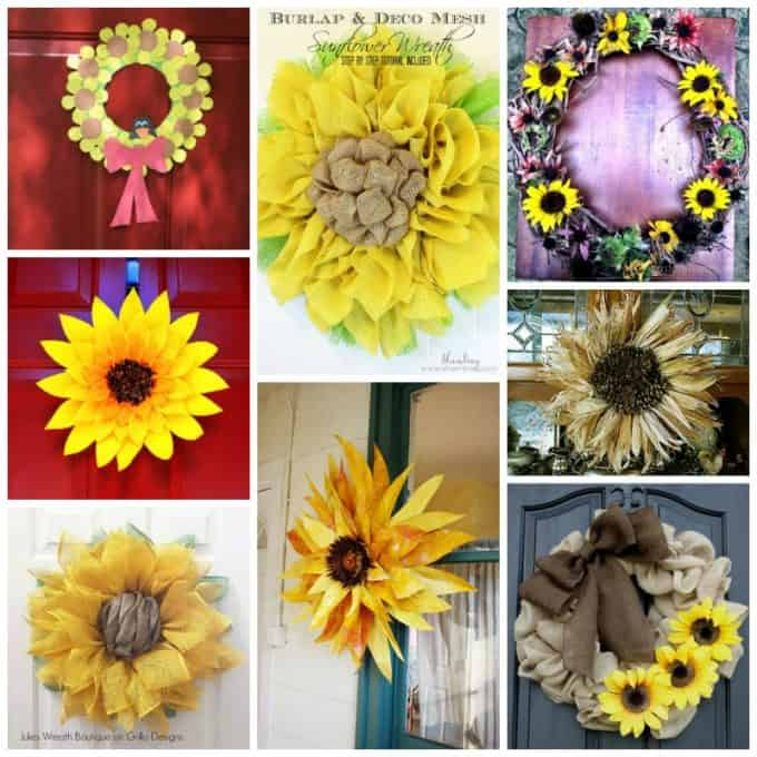 sunflower wreaths collage