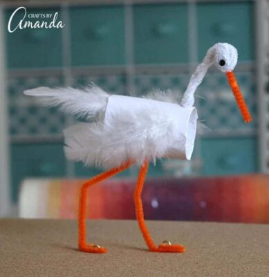 Kids can learn how to make an adorable cardboard tube stork, inspired by the new animated film STORKS, in theaters September 23rd. A fun recycling craft.