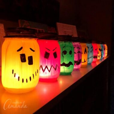 halloween painted jar luminaries