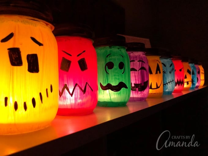 Halloween Luminaries Spooky Colorful Painted Jars To Light Up The Night