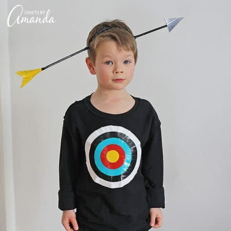Use duct tape to create this funny bullseye Halloween costume kids will love. Step by step instructions for using duck tape to create arrow hat & bullseye.