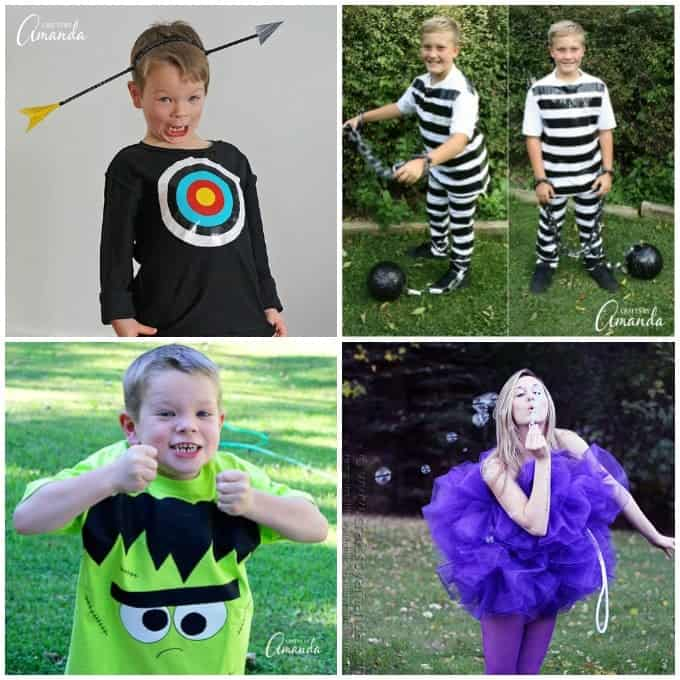 Fun Halloween costume ideas: You won't believe the giggles and silliness that will result from this duct tape bullseye costume. Turn ordinary white clothing into a prisoner costume in less than 30 minutes! Some little ones don't want to dress in a costume. This Frankenstein shirt make a great costume alternative! If you have a teenage girl, this Shower Pouf Costume is such a fun idea!