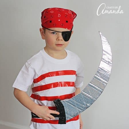Use duct tape, street clothes and a little cardboard to create this super easy, perfect for last-minute pirate costume for Halloween or a pirate birthday!