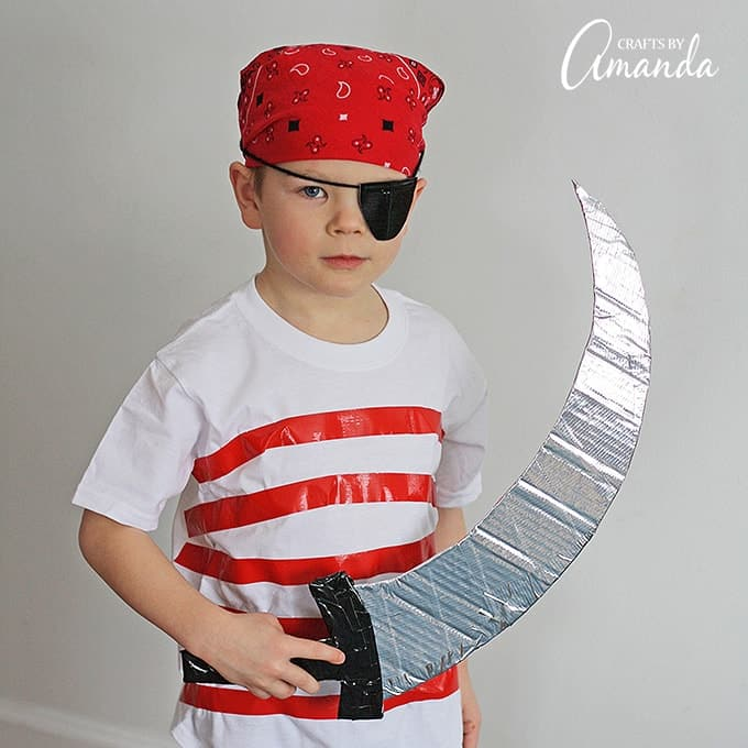e81c94b6d Use duct tape, street clothes and a little cardboard to create this super  easy,. This pirate costume ...