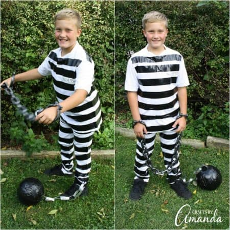 Use duct tape and regular white clothes to make this super simple prisoner costume. Afterwards, remove the duck tape and you're no longer a prisoner!