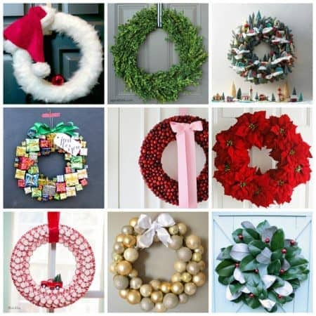 These Christmas wreaths include Santa themes or those that use candy, and some are fruit and/or flower wreaths while others use natural elements.