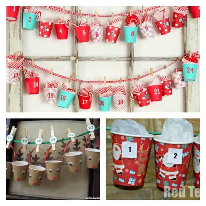 Here are some super cute ideas for turning foam or paper cups into advent calendars. You can find colorful paper cups at the dollar store or party supply store.
