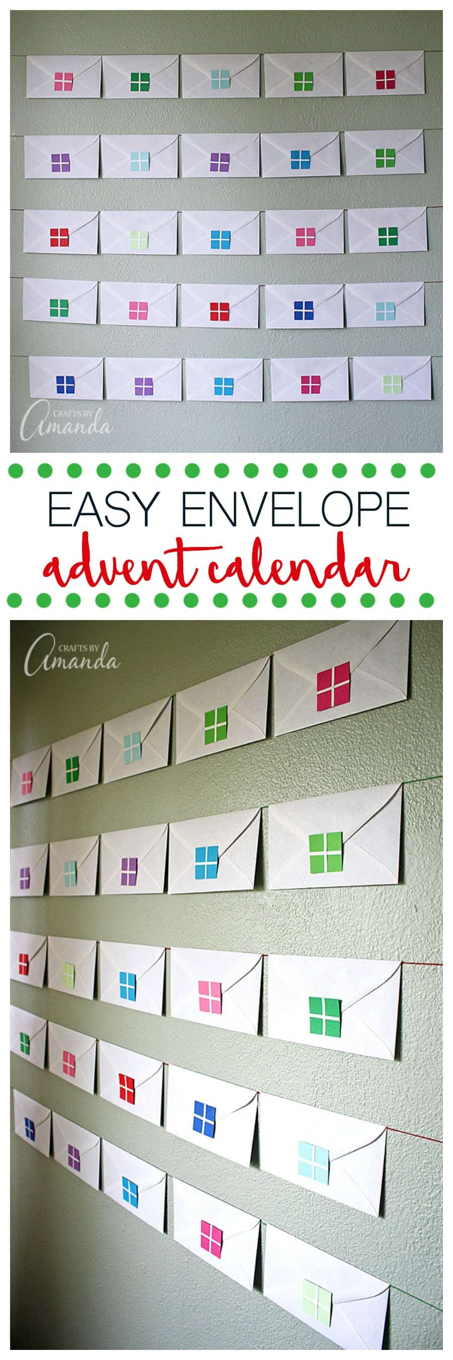 Why not start a new Christmas tradition with your kids by creating a simple envelope advent calendar using no more than plain white envelopes and colored paper.