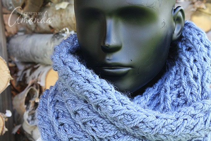 Faux cable infinity scarf pattern