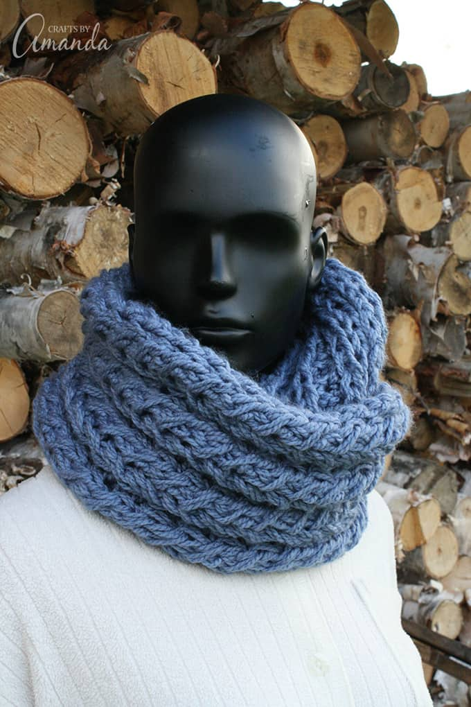 Knit your own infinity scarf with this free faux infinity scarf pattern. Learn to make your own scarf to keep you warm and cozy this winter.