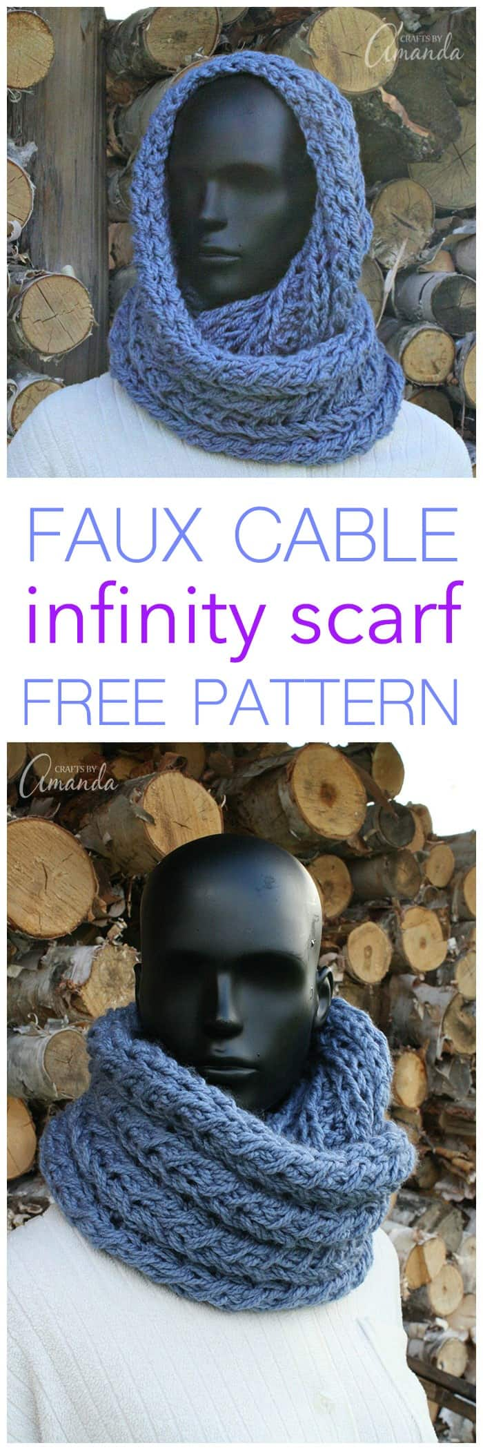 Make your own crochet infinity scarf with this free faux cable crochet pattern. Learn to make your own infinity scarf to keep you warm and cozy this winter.