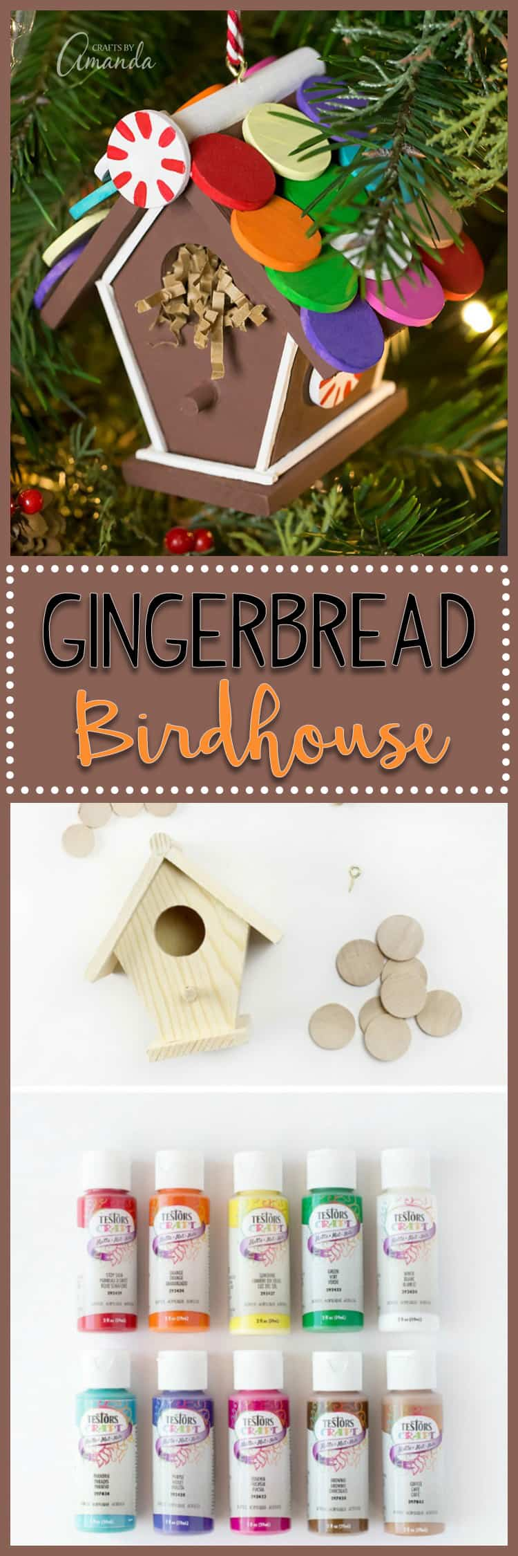 Just in time for the holidays, learn how to make a colorful Gingerbread Birdhouse Ornament from a miniature craft birdhouse, wooden circles, and paint.
