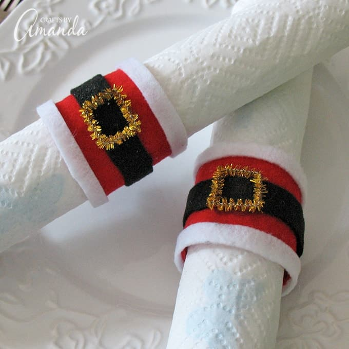 Santa's belly napkin rings from cardboard tubes