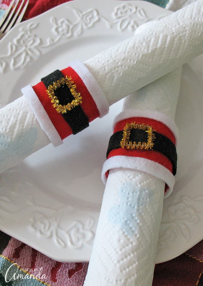 Learn to make Santa's belly napkin rings from recycled paper towel tubes
