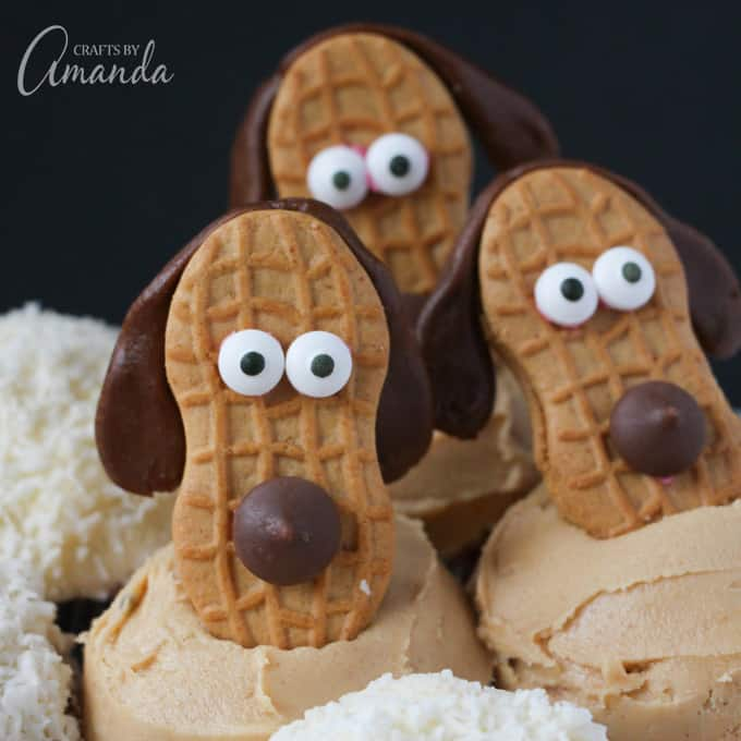 Dachshund Cookie Cupcakes - How to Make Puppy Peanut Butter Cupcakes