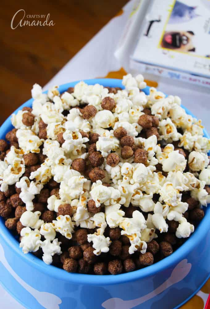 "Next, we air popped some popcorn and mixed it with equal parts chocolate cereal to make our ""kibble popcorn mix."""