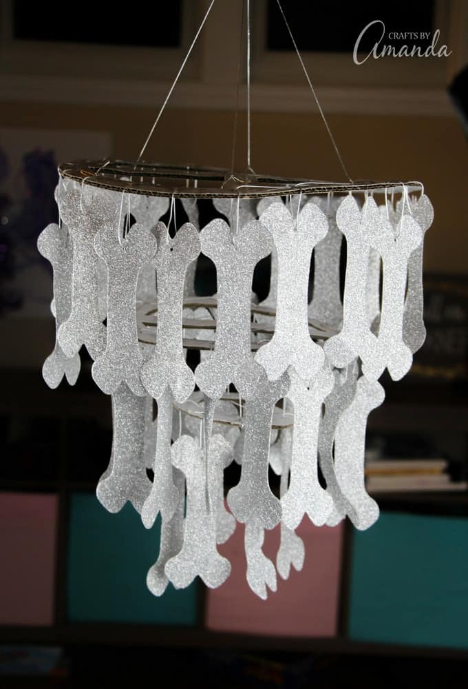 And finally, we topped the whole thing off with a glitter dog-bone chandelier!