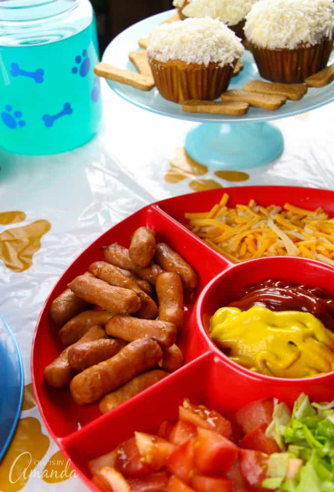 For the hot dog bar, I used a sectioned party tray and filled it with all of my daughter's favorite hot dog toppings