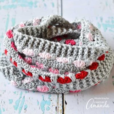 This scarf pattern is the perfect length to keep you cozy during the frigid months of January and February, plus the little hearts are just so pretty!