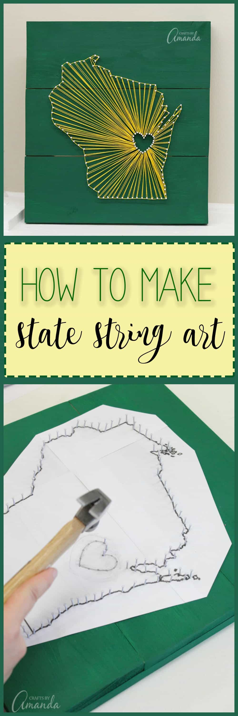 How to make state inspired string art using embroidery floss, small nails, craft glue, and a wooden board. Customize this wall art to your home state!