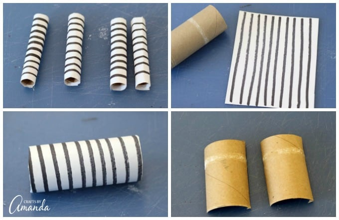 Now we are going to give the Zebra a striped body. Wrap around the cardboard tube.