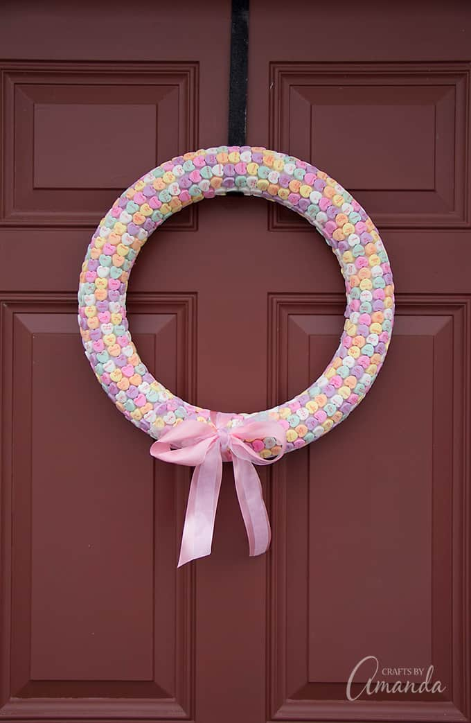 This conversation heart wreath is a fun adult craft project that anyone can make.