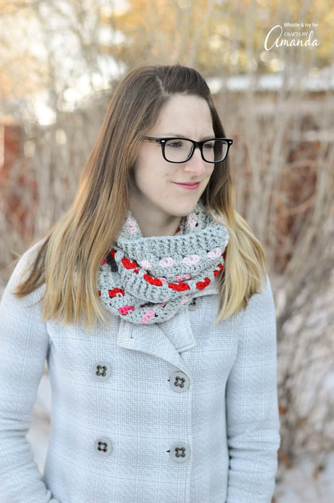 This infinity scarf crochet pattern the perfect length to keep you cozy during the frigid months of January and February, plus the little hearts are just so pretty. This is a great adult project, allowing you to challenge your inner crochet skills!