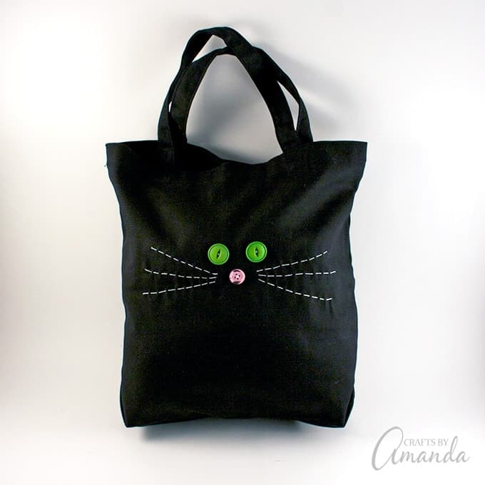 Kitty Cat Tote Bag: easy beginner sewing project for kids and cat lovers