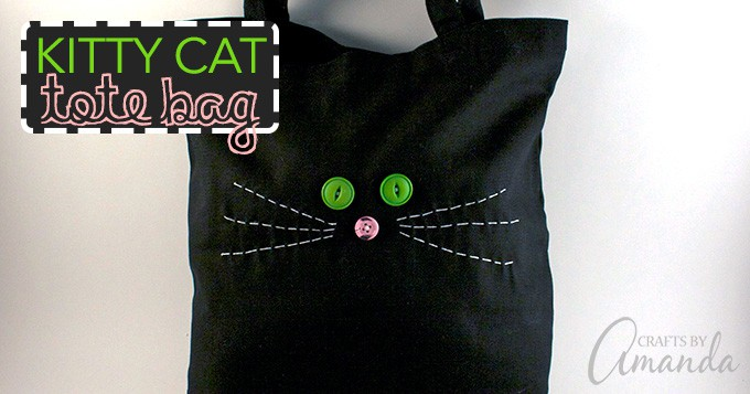Kids will love learning to how hand stitch this sweet kitty cat tote bag, perfect for carrying around their dolls, toys or craft supplies!