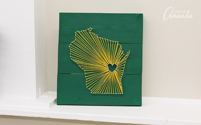 State String Art Wisconsin Green Bay Packer Fans Will Enjoy This One